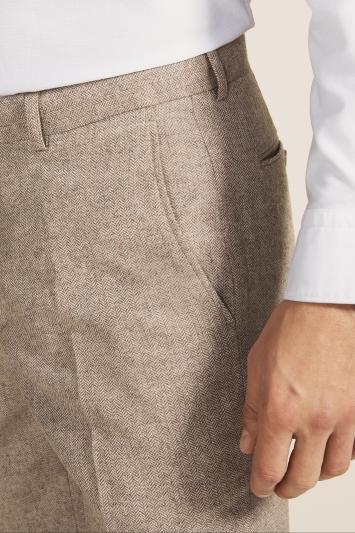 Moss 1851 Tailored Fit Oatmeal Herringbone Trouser