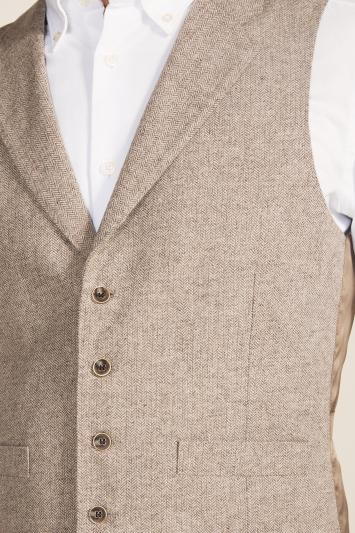 Moss 1851 Tailored Fit Oatmeal Herringbone Waistcoat