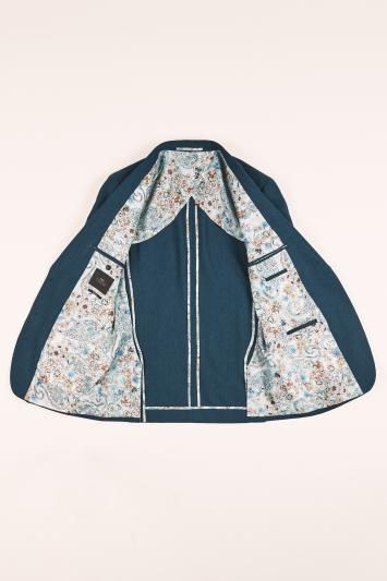 Moss London Slim Fit Teal Herringbone Tweed Jacket