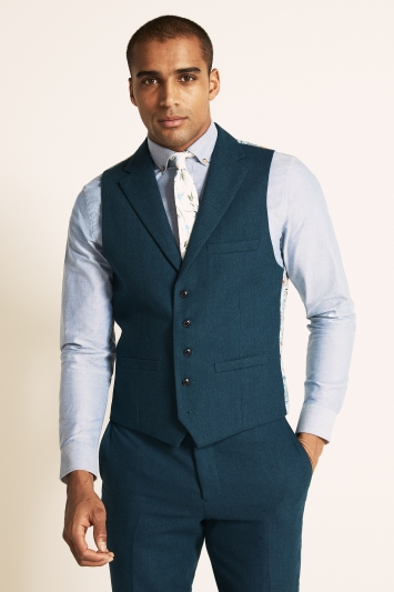 Moss London Slim Fit Teal Herringbone Tweed Waistcoat
