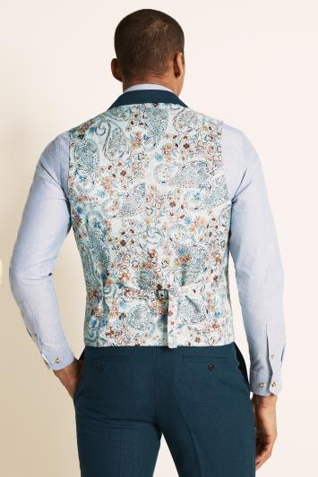 Moss London Slim Fit Teal Herringbone Tweed Waistcoat