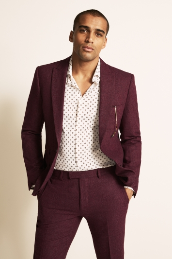 Moss London Slim Fit Raspberry Herringbone Tweed Jacket