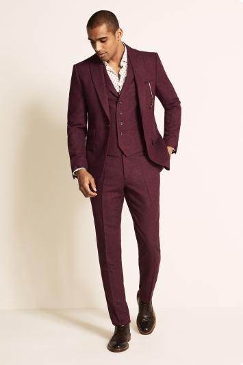 Moss London Slim Fit Raspberry Herringbone Tweed Jacket