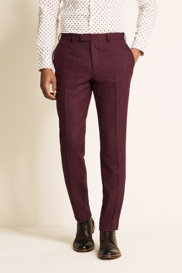 Moss London Slim Fit Raspberry Herringbone Tweed Trousers