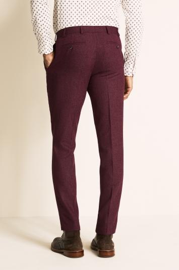 Moss London Slim Fit Raspberry Herringbone Tweed Trousers