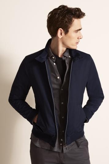 Moss 1851 Tailored Fit Mid Blue Blouson Jacket