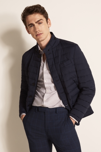 Moss 1851 Tailored Fit Navy Linear Padded Jacket
