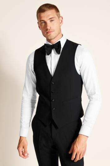 Moss 1851 Tailored Fit Black Dress Waistcoat