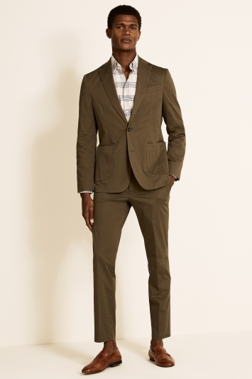 Tailored Fit Khaki Cotton Jacket