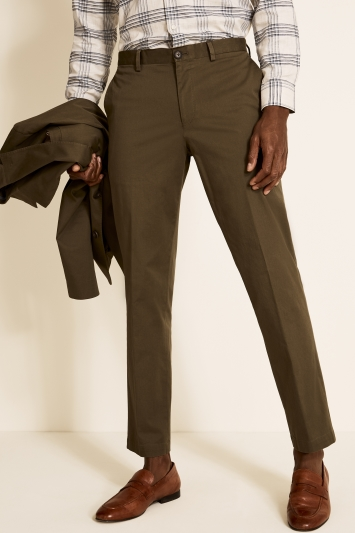 Tailored Fit Khaki Cotton Trousers