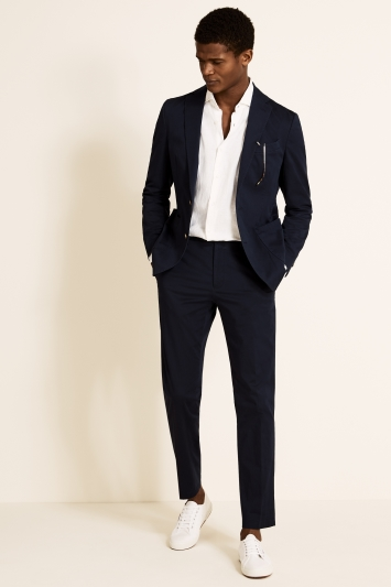 Tailored Fit Navy Cotton Jacket