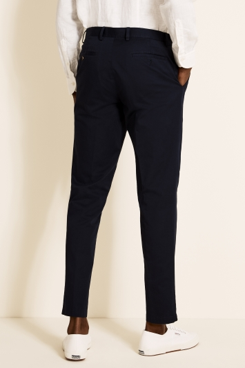 Tailored Fit Navy Cotton Trousers