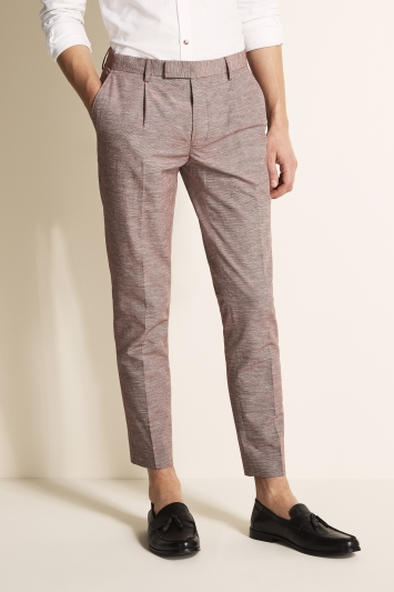 Moss London Slim Fit Rhubarb Linen Blend Single Pleat Cropped Trouser
