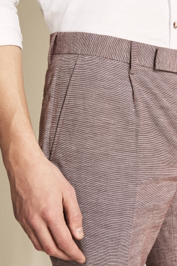 Slim Fit Rhubarb Linen Blend Trousers