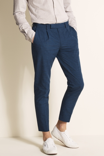 Moss London Slim Fit Ink Linen Blend Single Pleat Cropped Trouser