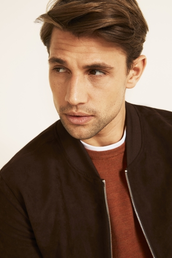 Moss London Slim Fit Chocolate Suedette Bomber Jacket