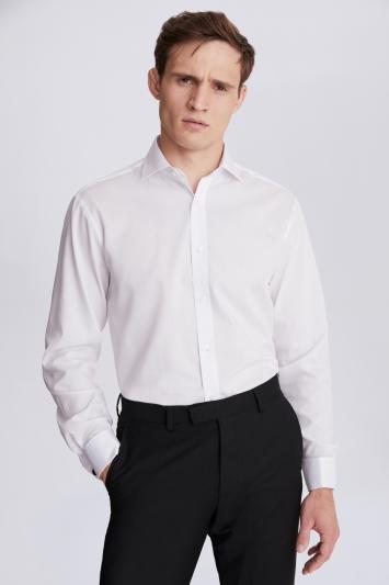 Regular Fit White Double Cuff Textured Shirt