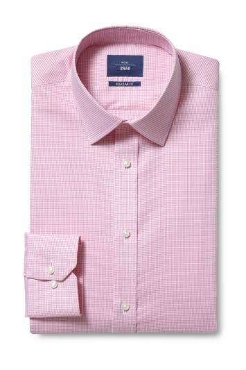 Moss 1851 Regular Fit Pink Single Cuff Puppytooth Shirt