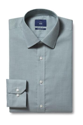 Moss 1851 Regular Fit Green Single Cuff Puppytooth Shirt