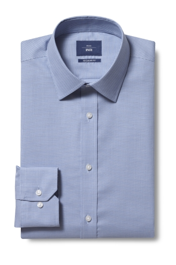 Moss 1851 Regular Fit Teal Single Cuff Puppytooth Shirt