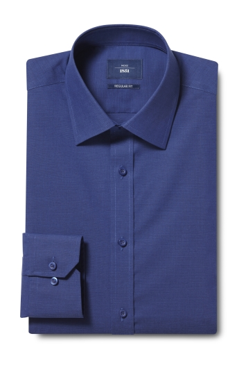 Moss 1851 Regular Fit Navy Single Cuff End on End Shirt