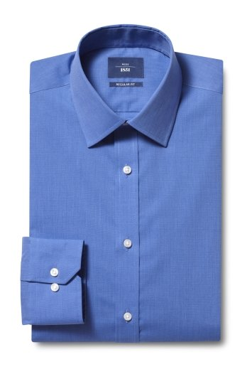 Moss 1851 Regular Fit Blue Single Cuff End on End Shirt