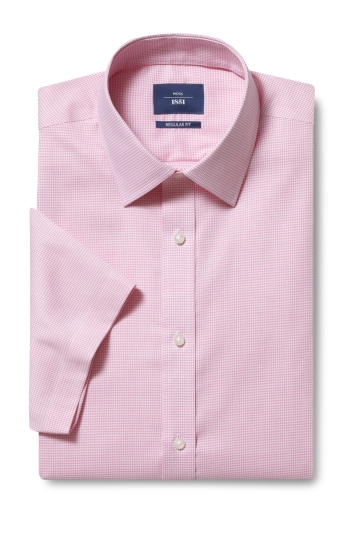 Moss 1851 Regular Fit Pink Short Sleeve Puppytooth Shirt