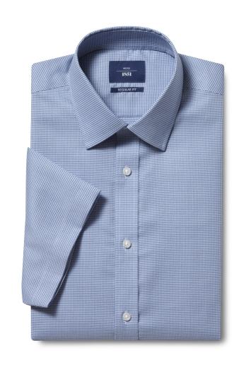 Moss 1851 Regular Fit Teal Short Sleeve Puppytooth Shirt