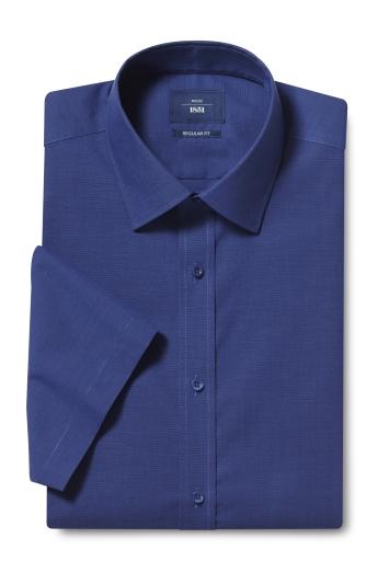 Moss 1851 Regular Fit Navy Short Sleeve End on End Shirt