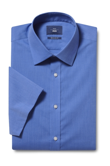 Moss 1851 Regular Fit Blue Short Sleeve End on End Shirt