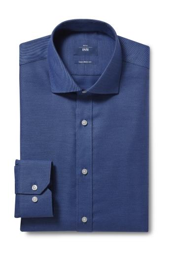 Moss 1851 Tailored Fit Navy Single Cuff Twill Non Iron Shirt