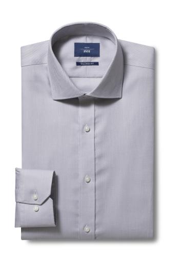 Moss 1851 Tailored Fit Grey Single Cuff Twill Non Iron Shirt