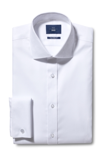 Moss 1851 Tailored Fit White Double Cuff Dobby Non Iron Shirt