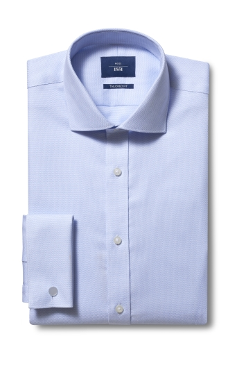 Tailored Fit Sky Dobby Double Cuff Non Iron Shirt
