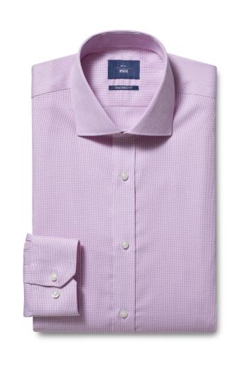Moss 1851 Tailored Fit Pink Single Cuff Dobby Non Iron Shirt