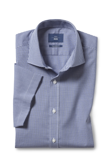 Tailored Fit Navy Gingham Short Sleeve Shirt