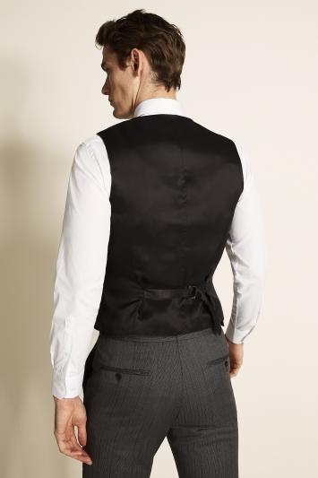 Tailored Fit Black Herringbone Waistcoat