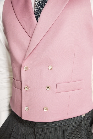 Moss Bros Covent Garden Tailored Fit Pink Double Breasted Waistcoat