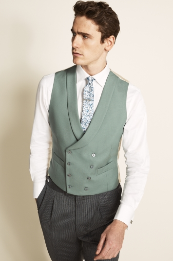 Moss Bros Covent Garden Tailored Fit Green Double Breasted Waistcoat