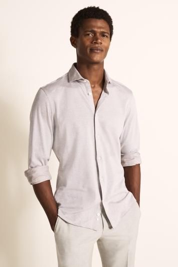 Moss London Slim Fit Neutral Single Cuff Knit Shirt