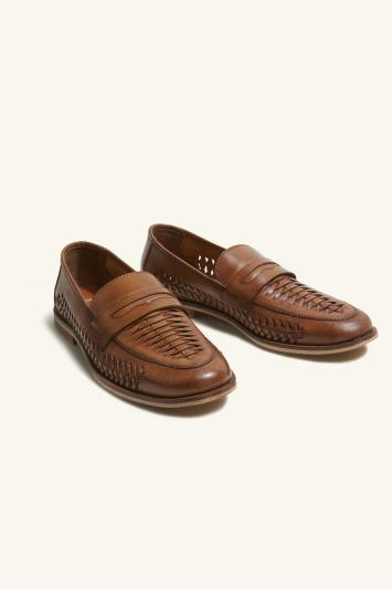 Moss London Kew Tan Leather Lattice Loafer Shoe