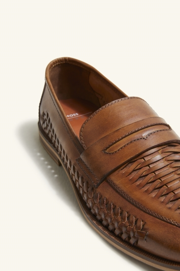 Moss London Kew Tan Leather Lattice Loafer Shoe