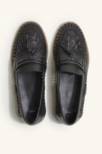 Buxton Black Tassel Lattice Loafer