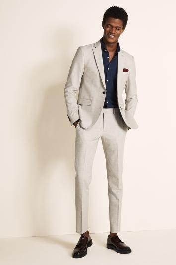 DKNY Slim Fit Light Grey Crepe Jacket