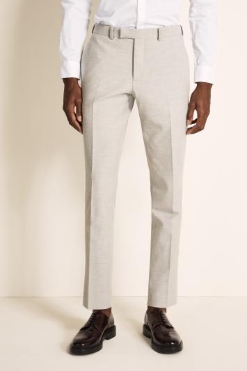 DKNY Slim Fit Light Grey Crepe Trousers