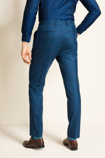 Ted Baker Slim Fit Blue With Purple Check Trousers