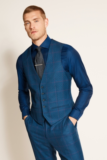 Ted Baker Slim Fit Blue with Purple Check Waistcoat
