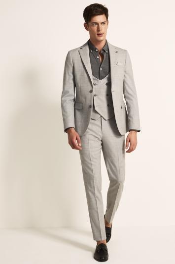Ted Baker Slim Fit Light Grey Crepe Jacket