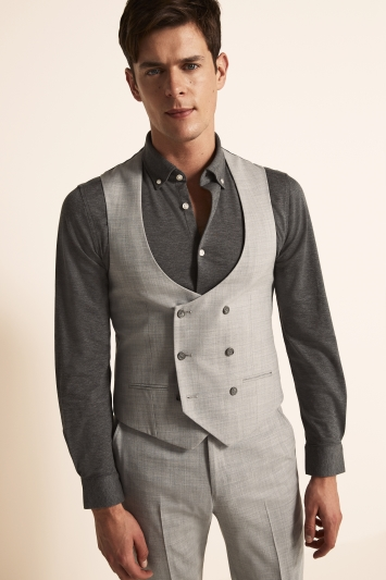 Ted Baker Slim Fit Light Grey Crepe Waistcoat