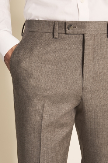 Ted Baker Gold Tailored Fit Stone Semi Plain Trousers